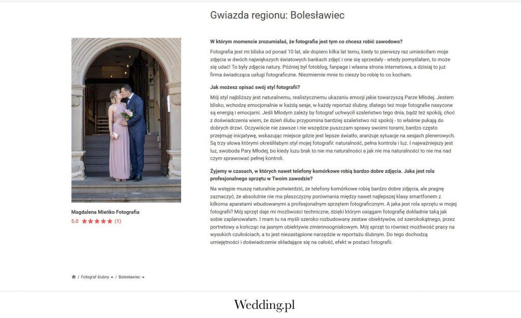 Publikacje/Media w Wedding.pl - Mieńko